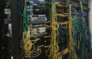 Crowded Improperly Designed Structured Cabling Rack